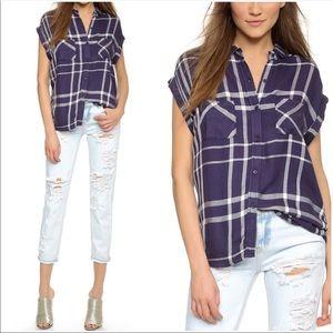 Rails Britt Plaid Short Sleeve Button Down Blue S
